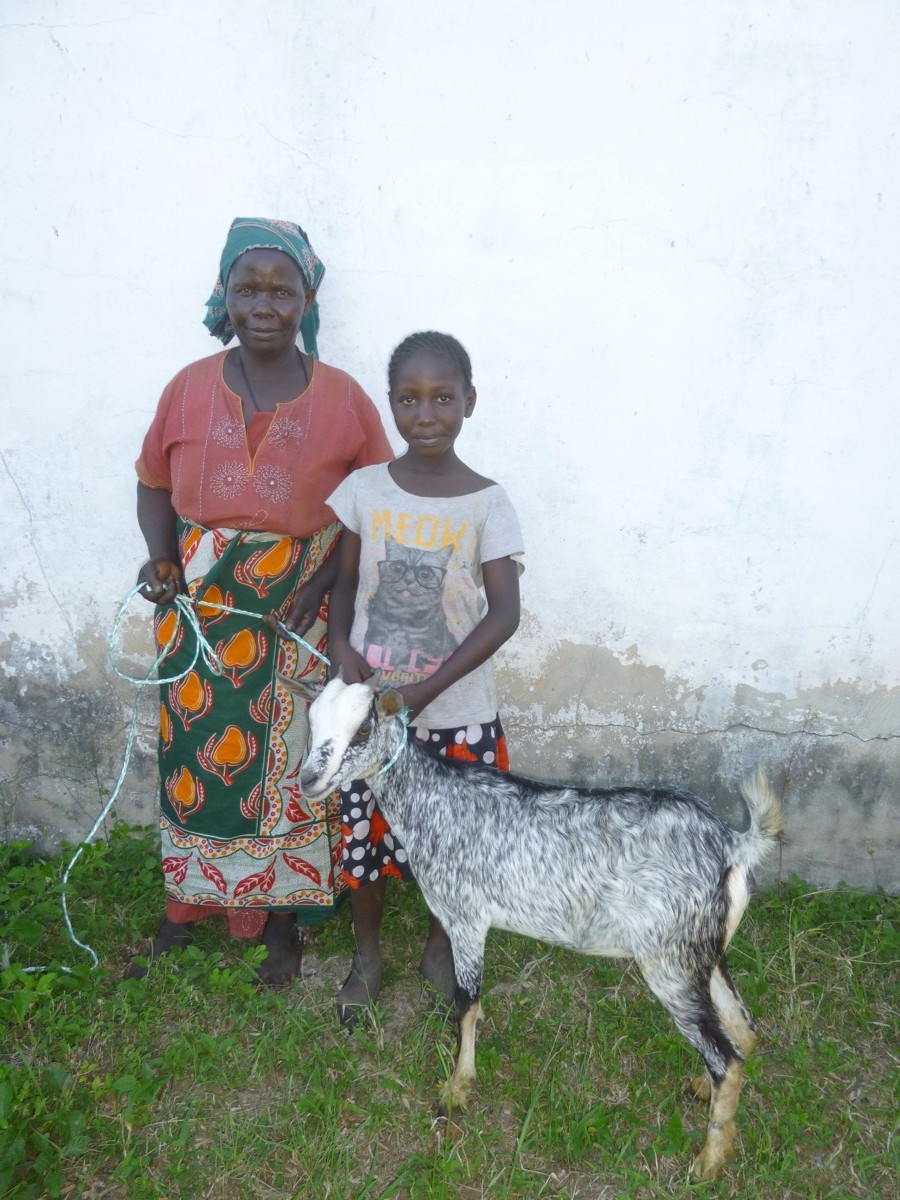 mwanaidi with her mom, goat gifts